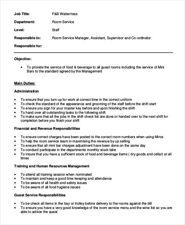 Waiter Job Description Templates  Pdf Doc  Free  Premium