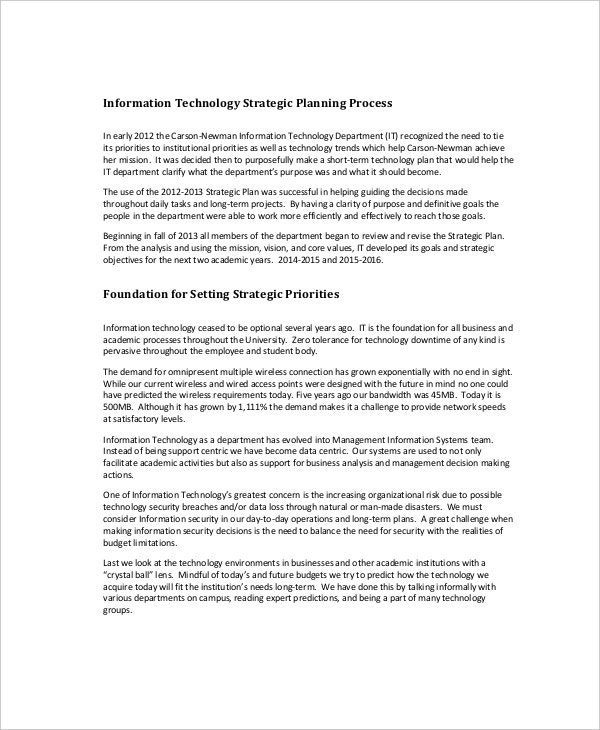 information technology strategic plan template