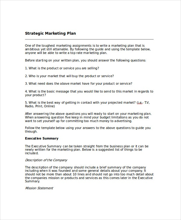 strategic marketing plan template free download - marketing tactical plan template