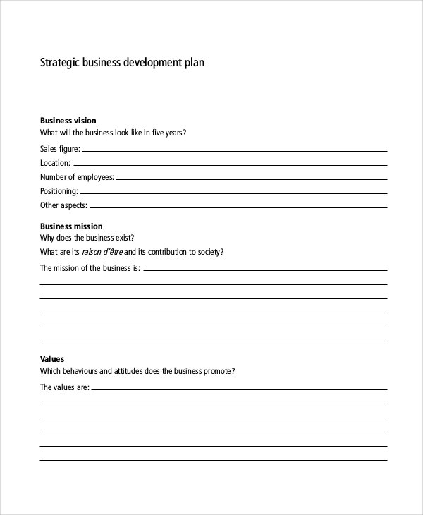 strategic business development plan template