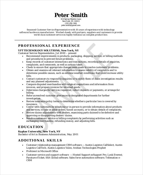 Samples Of Resumes For Customer Service Representative Inspiration