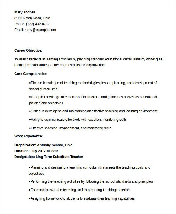 100 substitute description resume resume