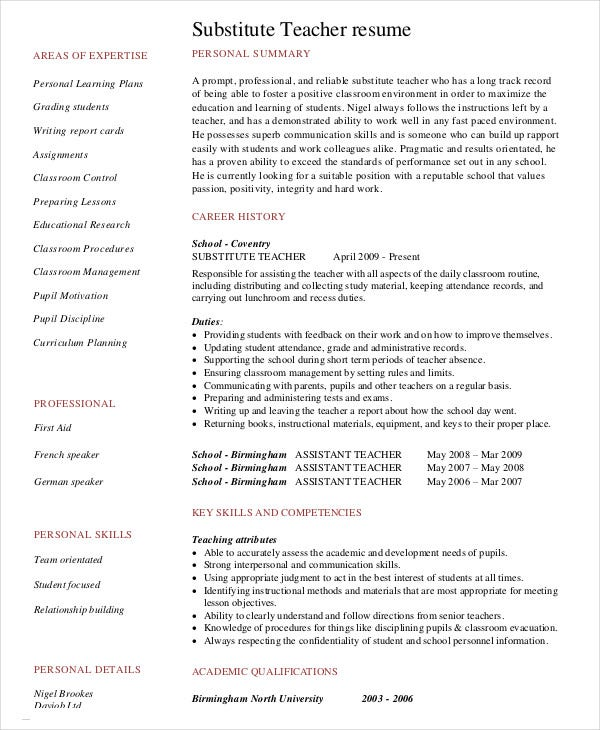 Substitute Teacher Resume With No Experience  Experienced Teacher Resume