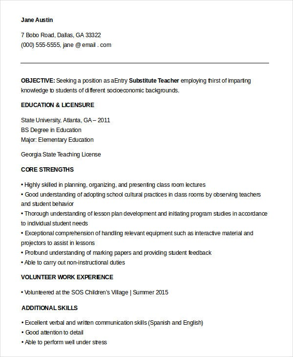 Entry Level Teacher Resume Examples 9 Substitute Templates Pdf Doc Free Premium