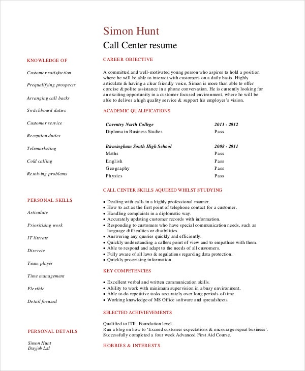 customer call center service resume in pdf - Resume Examples Pdf