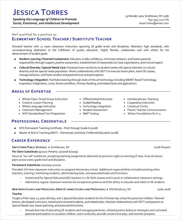 elementary substitute teacher resume - Resumes Examples For Teachers