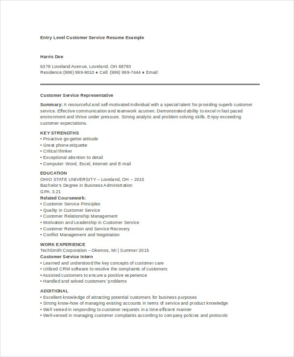 entry level customer service resume - Entry Level Customer Service Resume