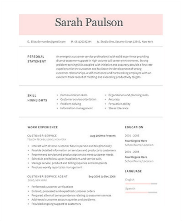 customer service agent resume in psd