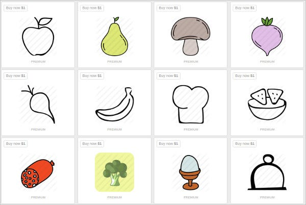 Beautiful Food Icon Set
