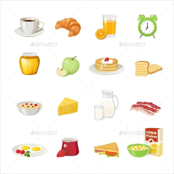 Breakfast Food Icon Set