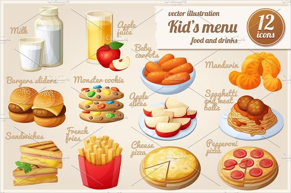 Cartoon Vector Food Icons