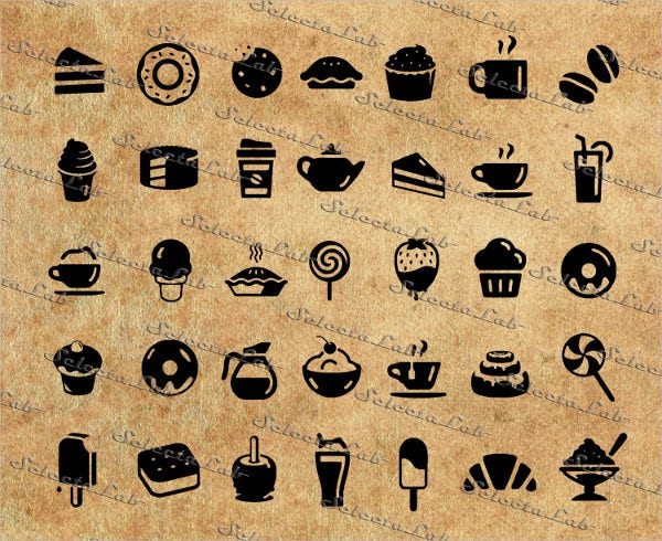Digital Food Icon Set