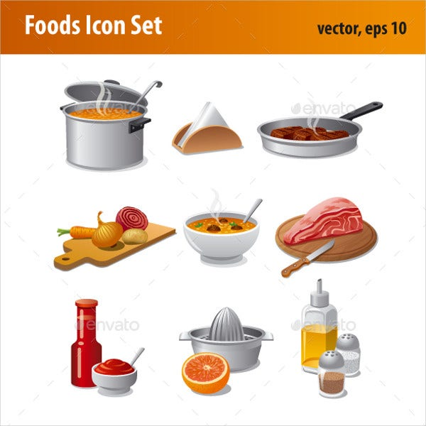 Editable Foods Icon Set