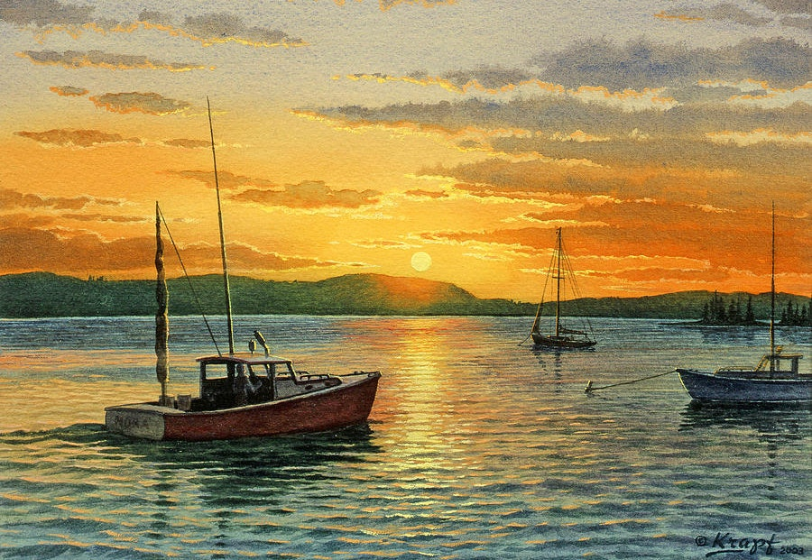 Harbor Sunset Painting