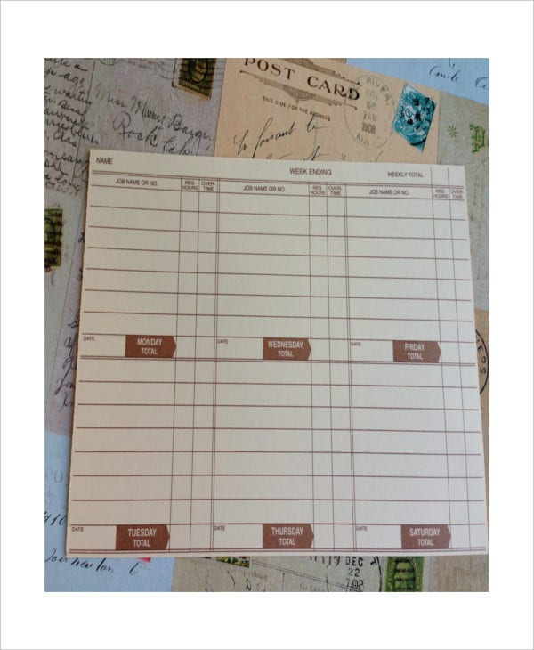 trifold time card template