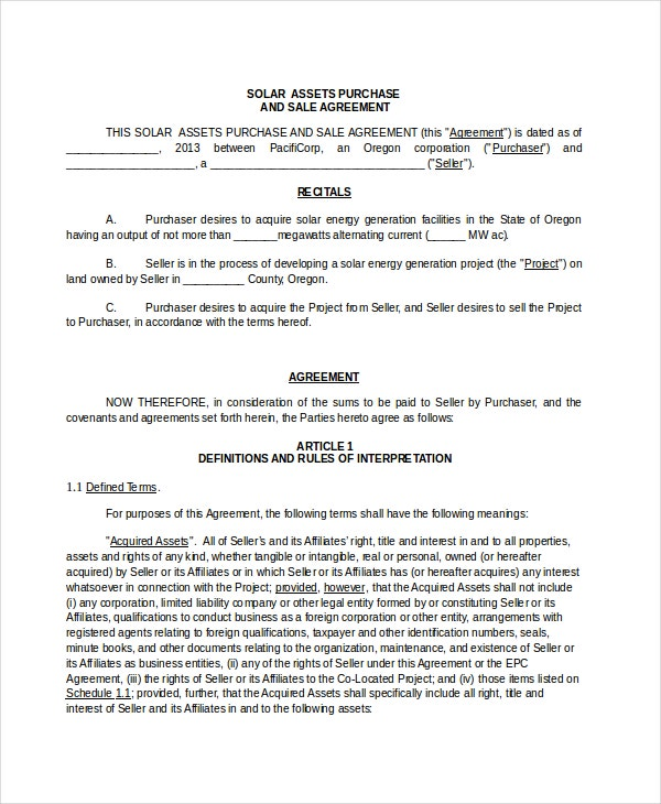 Assets Purchase And Sale Agreement Template In Word  Purchase Agreement Template