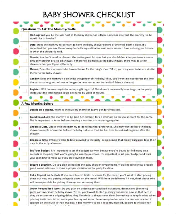 Printable Baby Shower Planner Template 8 Free PDF Documents – Guest Check Template