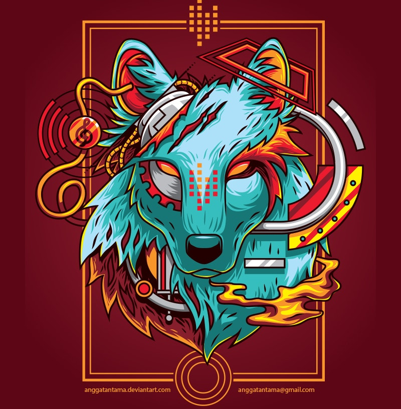 Electric Wolf Illustration