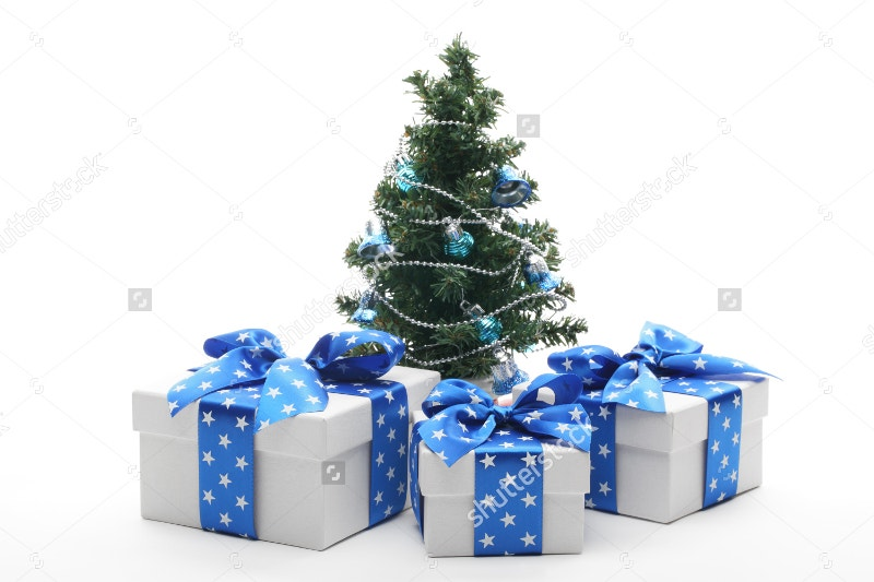 isolated christmas tree and gift