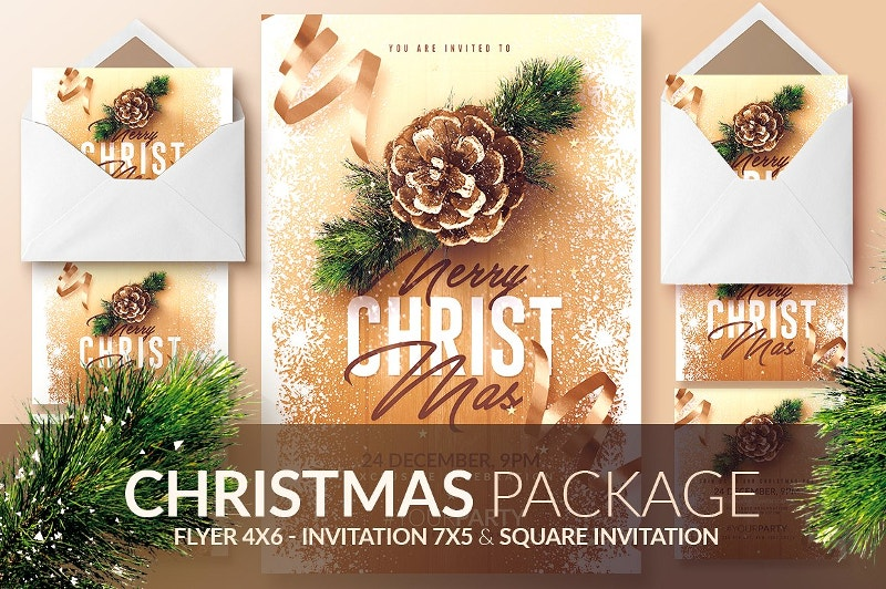christmas invitation psd package