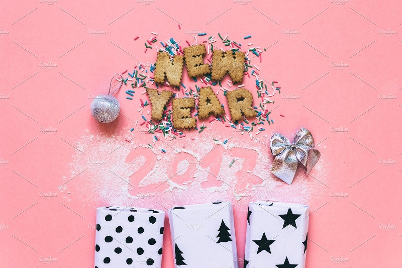 new year 2017 pink background
