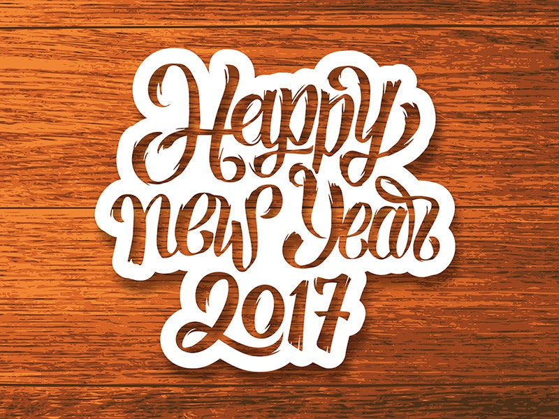 Happy New Year 2017 Wooden Background