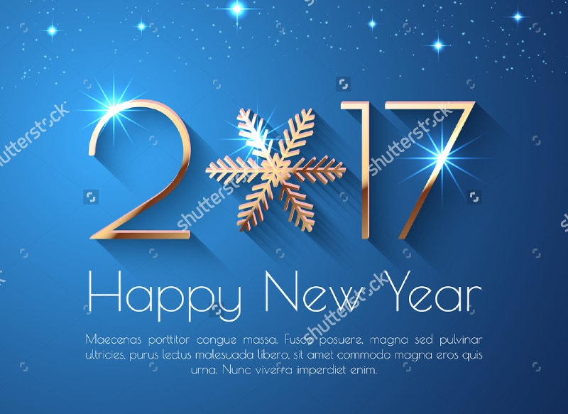 Happy New Year 2017 Text Design Background