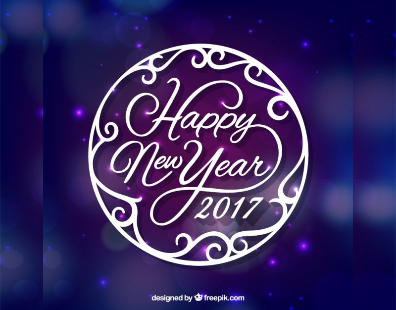 Happy New Year 2017 Purple Background Free