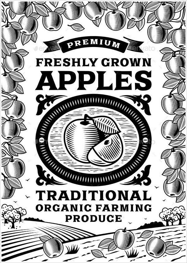 Retro Apples Poster Black and White