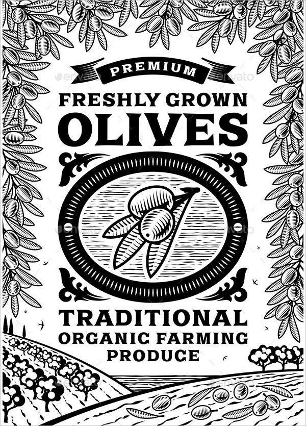 Retro Olives Poster Black And White