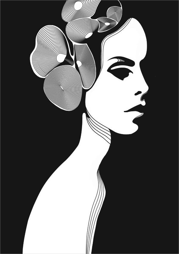 woman black and white poster