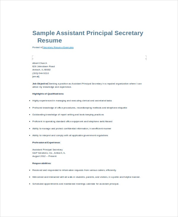 Secretary Resume - 9+ Free Pdf, Word Documents Download | Free