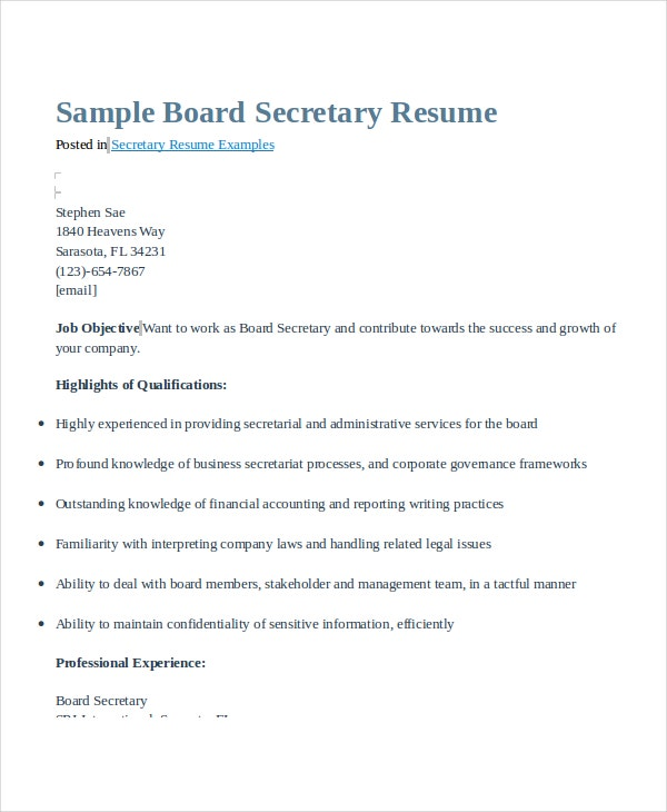 Board Secretary Resume