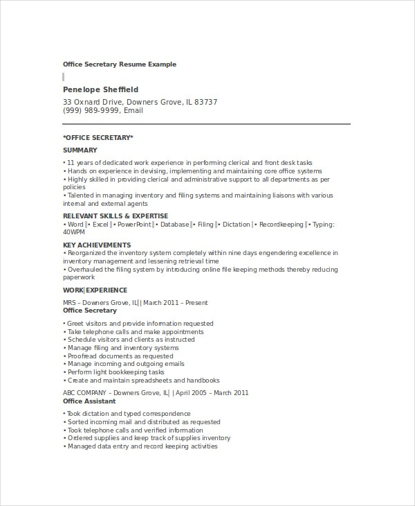 Office Secretary Resume