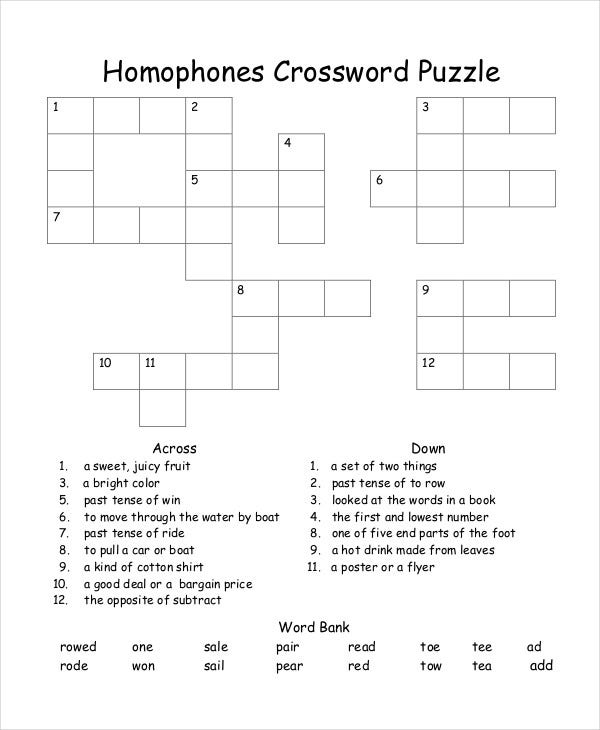 Free Printable Crossword Puzzle - 14+ Free PDF Documents Download ...