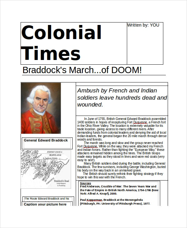 Colonial Newspaper Template