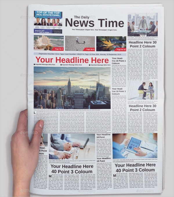 Newspaper Template Example
