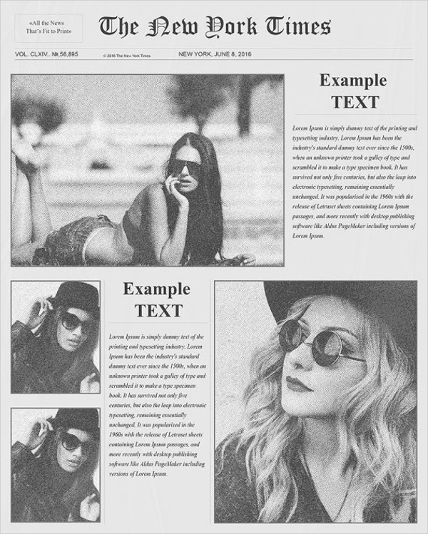 Vintage Fashion Newspaper Template