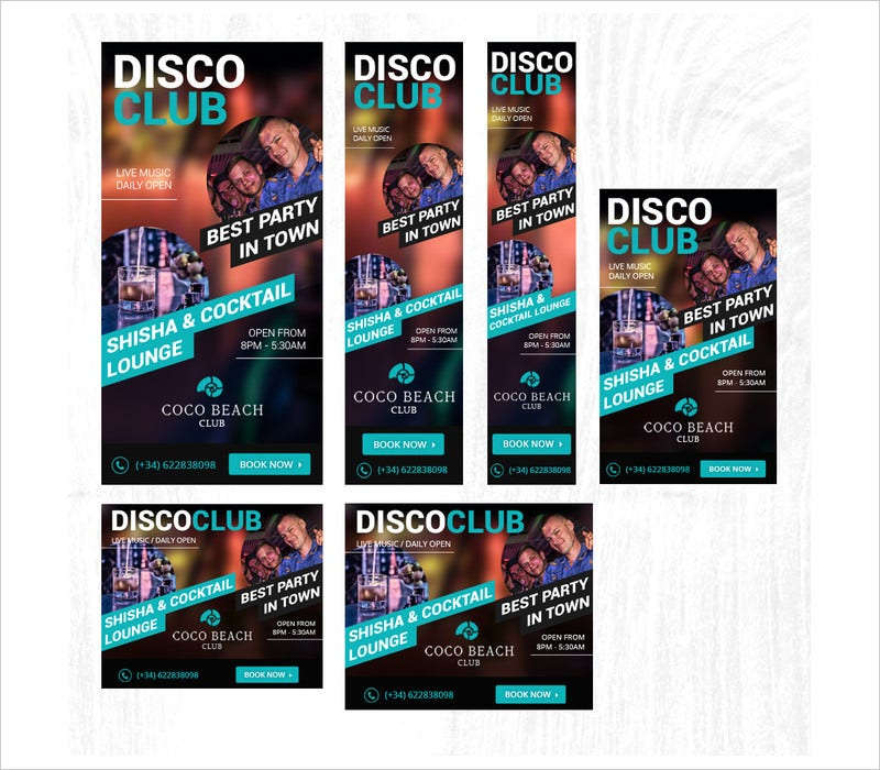 disco club banner ads