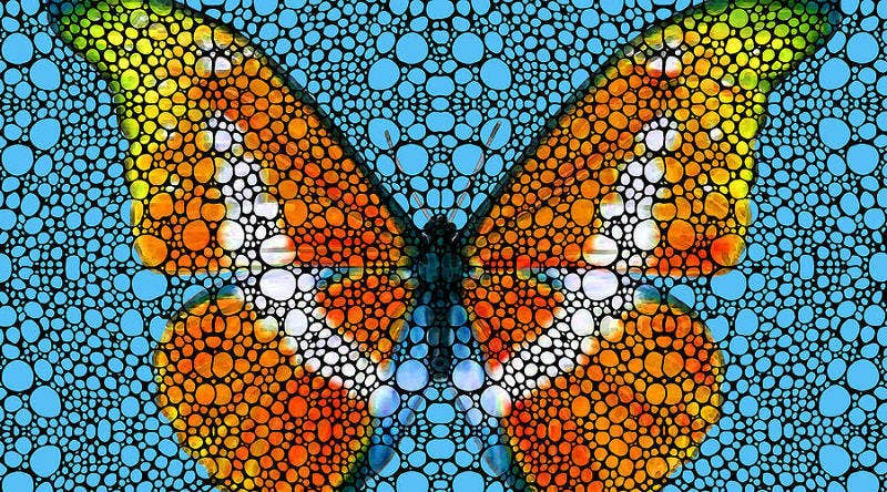mosaic art butterfly painting2