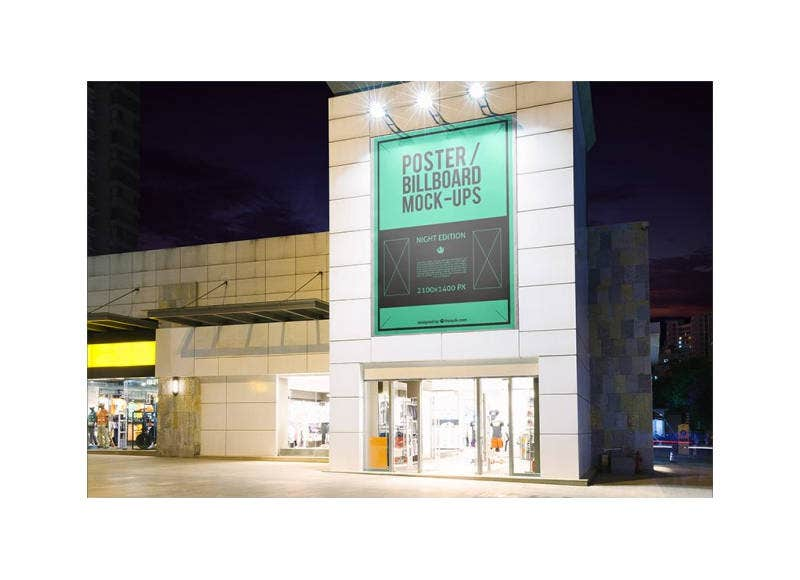 Billboard Mockup on a Building Free PSD
