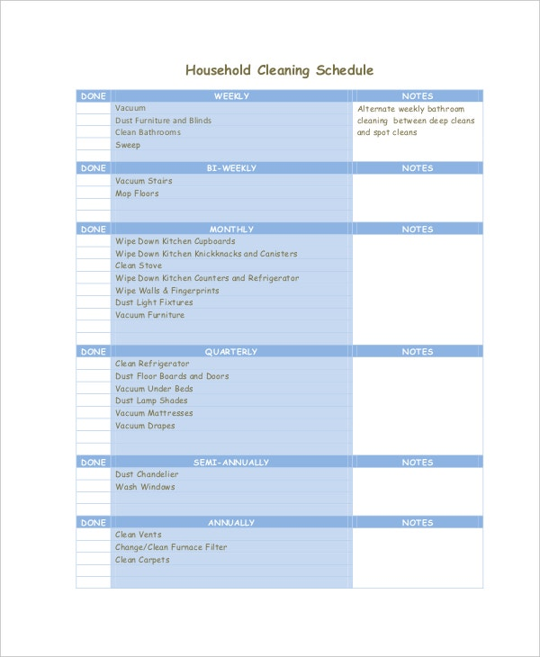 Daily Cleaning Schedule - 7+ Free PDF Documents Download | Free ...
