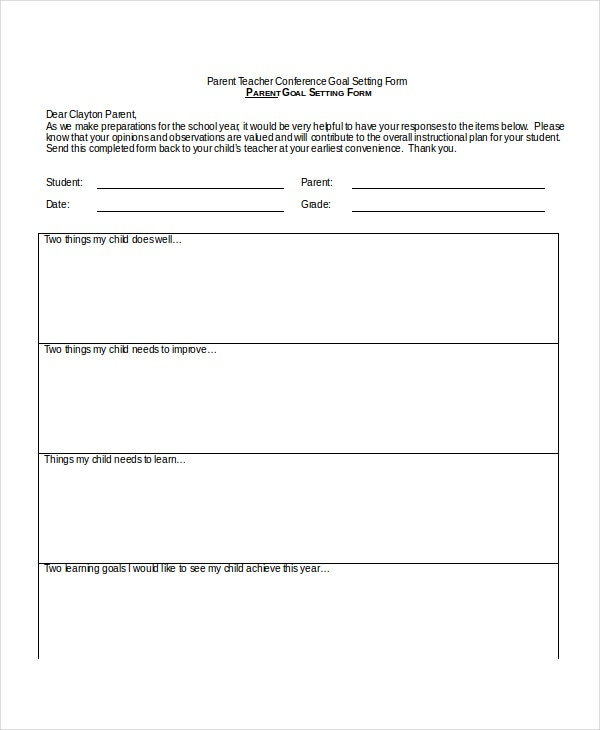 9+ Parent Teacher Conference Forms - Free Sample, Example, Format