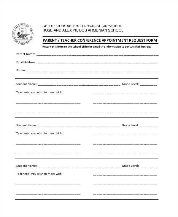Parent Teacher Conference Forms  Free Sample Example Format