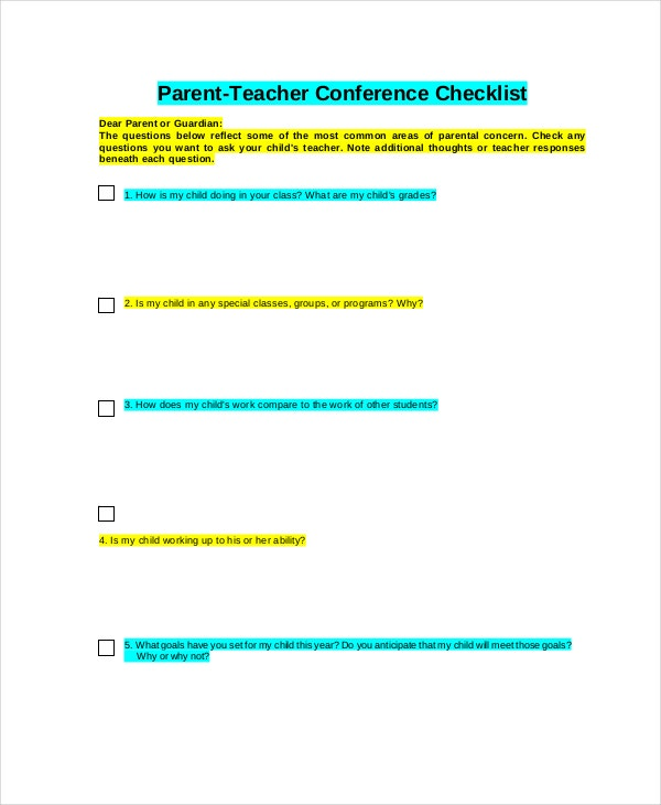 parent-teacher-conference-checklist-form