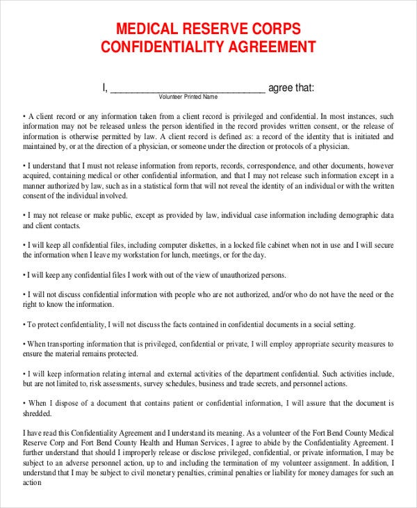 Confidentiality Agreement Form 10 Free Word PDF Documents – Medical Confidentiality Agreement