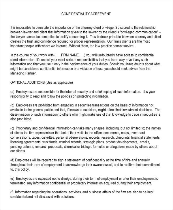 Confidentiality Agreement Form   Free Word Pdf Documents