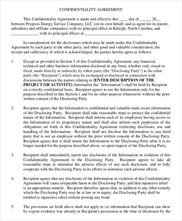 Confidentiality Agreement Form 10 Free Word PDF