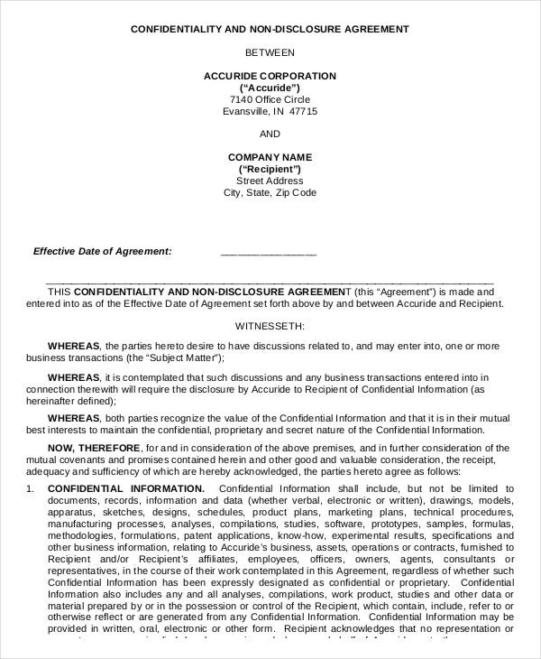 Non Disclosure Confidentiality Agreement Form