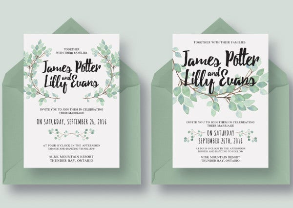 Eucalyptus Wedding Wedding Menu Card